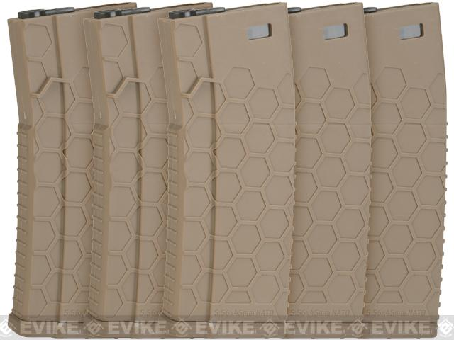 Hexmag Airsoft 120rds Polymer Mid-Cap Magazine for M4 / M16 Series Airsoft AEG Rifles (Color: Flat Dark Earth / Pack of 5)