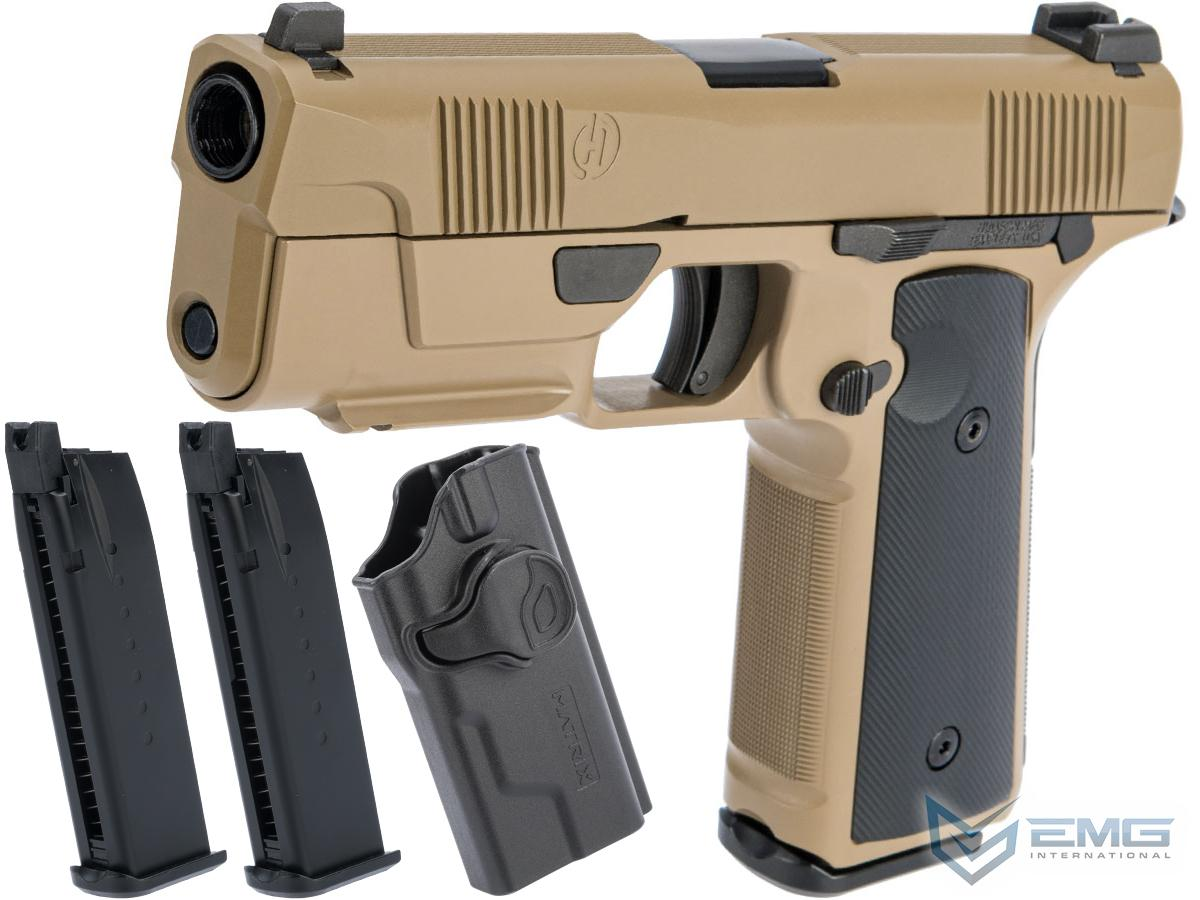 EMG / Hudson™ H9 Gas Blowback Airsoft Parallel Training Pistol (Color: Flat Dark Earth / Green Gas / Carry Package - MOLLE)