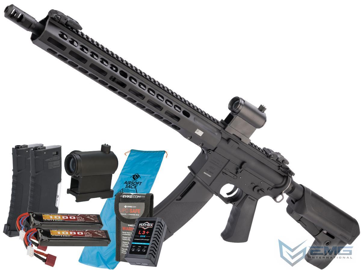 EMG / KRYTAC / BARRETT Firearms REC7 DI AR15 AEG Training Rifle (Length: Carbine / Black / Go Airsoft Package)
