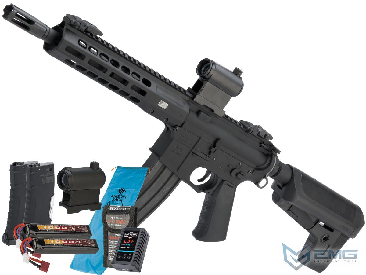 EMG / KRYTAC / BARRETT Firearms REC7 DI AR15 AEG Training Rifle (Length: SBR / Black / 350 FPS Go Airsoft Package)