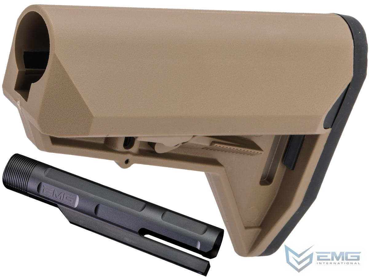 EMG ALPHA Combat Ready Retractable Stock for M4 Series Airsoft Rifles (Color: Desert Earth Stock + EMG Buffer Tube)