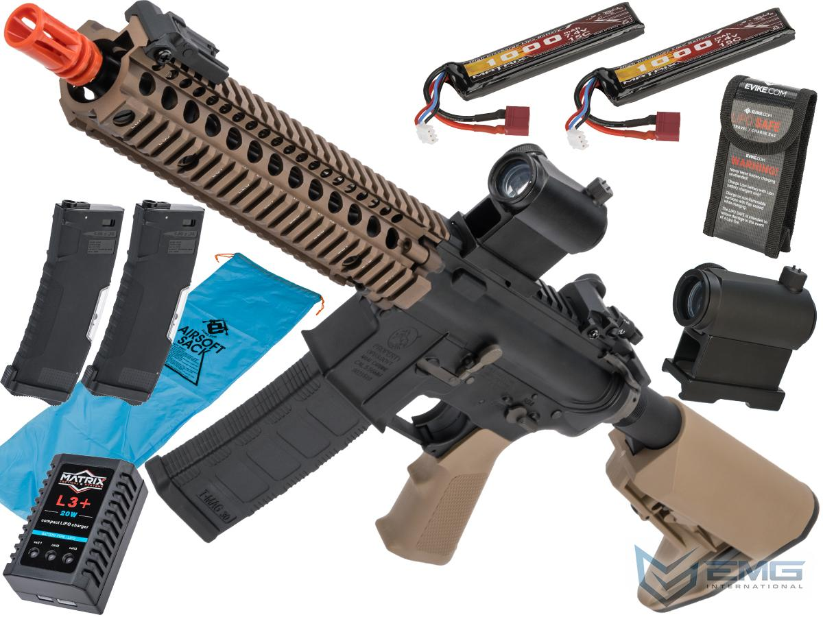 EMG Colt Licensed M4 SOPMOD Block 2 Airsoft AEG Rifle with Daniel Defense Rail System (Model: 9.5 MK18 350 FPS / Tan / Go Airsoft Package)