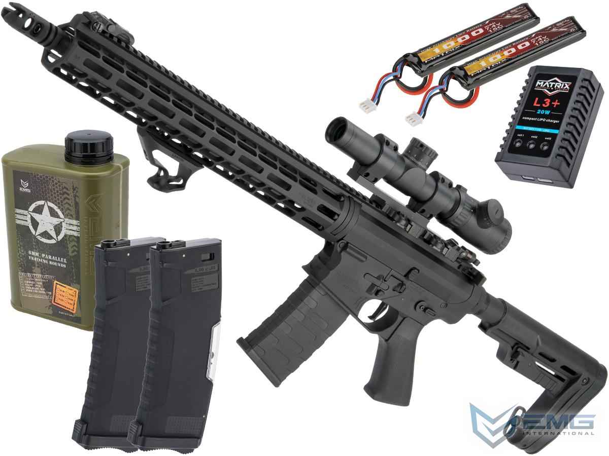 EMG Falkor AR-15 RECCE 2.0 eSilverEdge Training Weapon M4 Airsoft AEG Rifle (Color: Blackout / 400 FPS / Tactical Package)