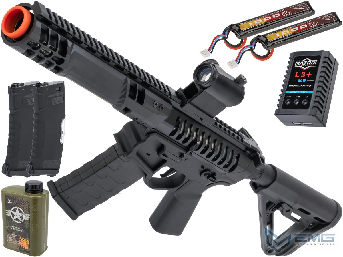 EMG F-1 Firearms PDW Airsoft AEG Training Rifle w/ eSE Electronic Trigger (Model: Black / RS-3 350 FPS / Tactical Package)
