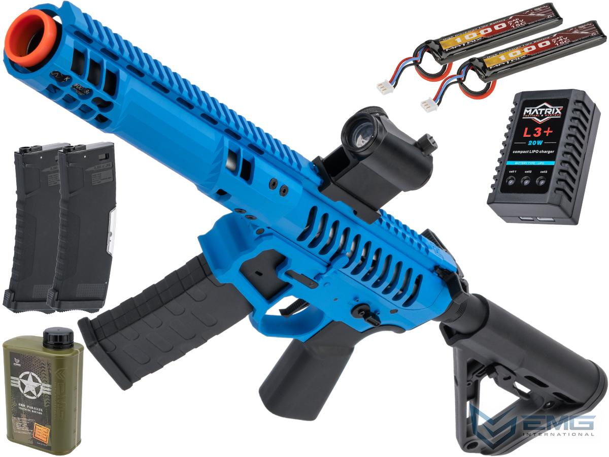 EMG F-1 Firearms PDW Airsoft AEG Training Rifle w/ eSE Electronic Trigger (Model: Blue - Black / RS-3 350 FPS / Tactical Package)