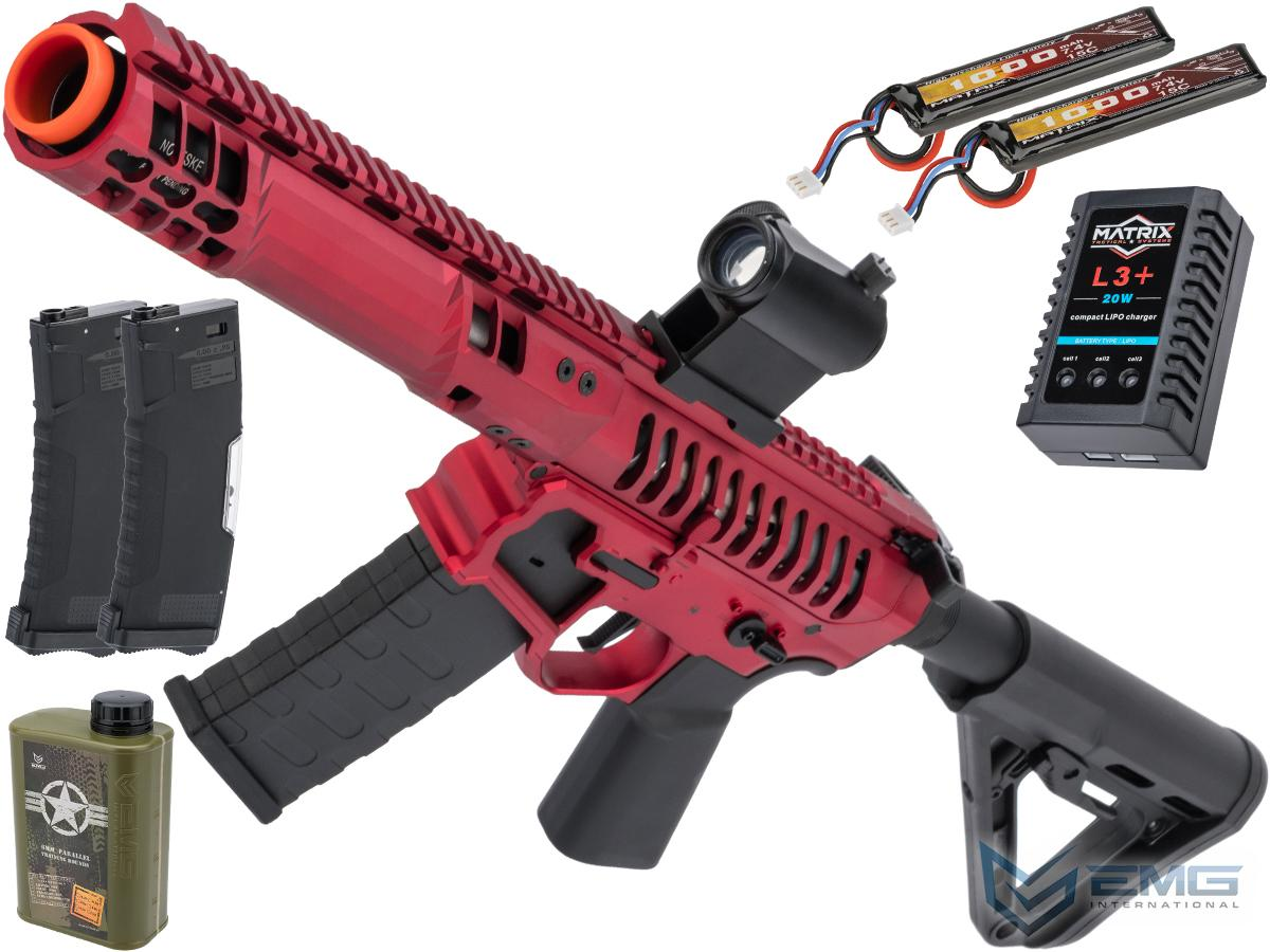 EMG F-1 Firearms PDW Airsoft AEG Training Rifle w/ eSE Electronic Trigger (Model: Red - Black / RS-3 350 FPS / Tactical Package)