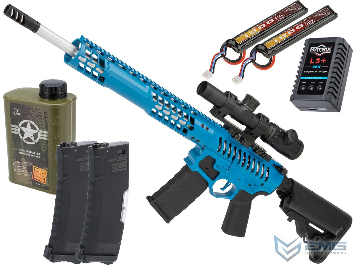 EMG F-1 Firearms BDR-15 3G AR15 2.0 eSilverEdge Full Metal Airsoft AEG Training Rifle (Model: Blue / 350 FPS / Tactical Package)