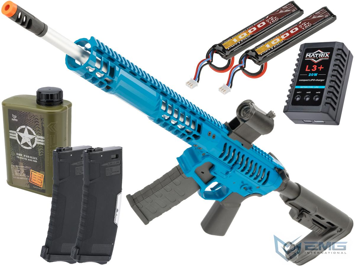 EMG F-1 Firearms BDR-15 3G AR15 2.0 eSilverEdge Full Metal Airsoft AEG Training Rifle (Model: Blue / RS2 Stock 350 FPS / Tactical Package)