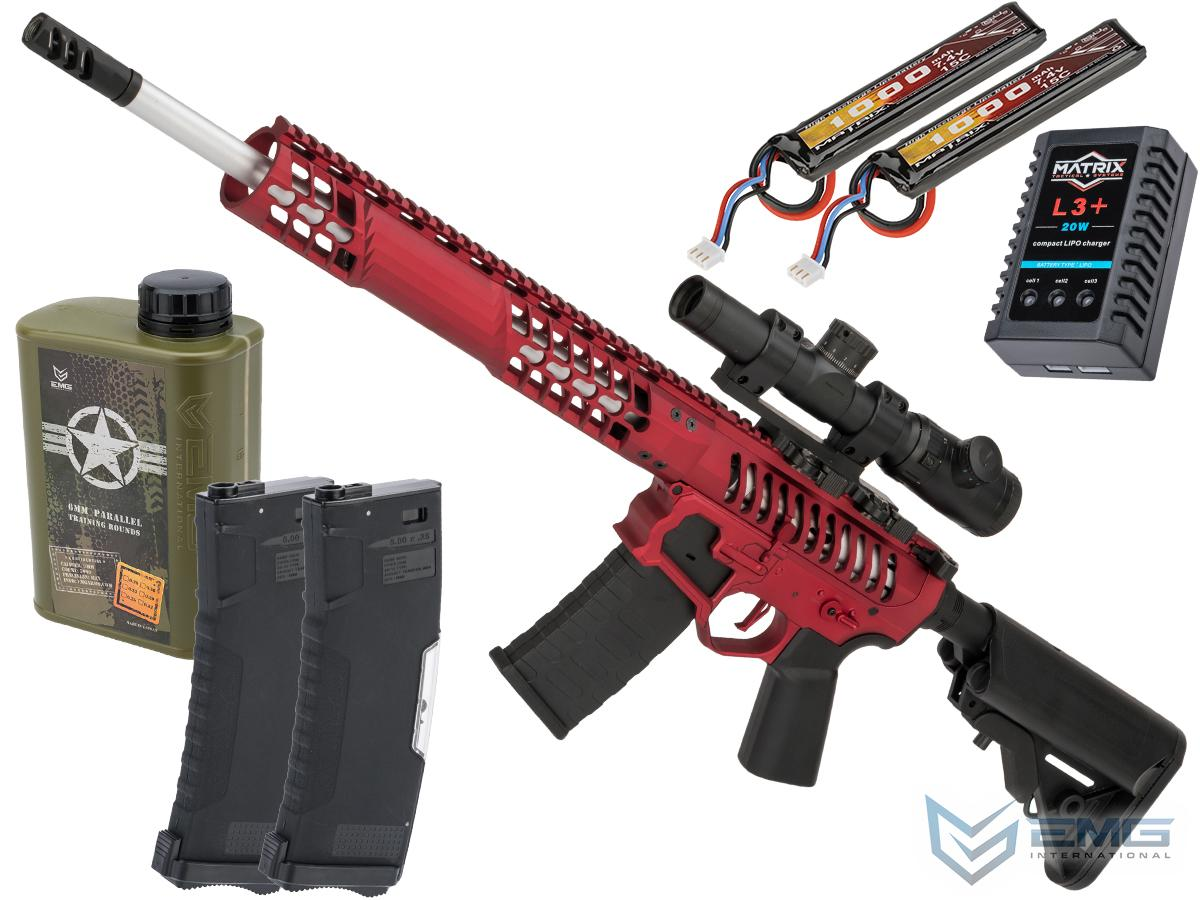 EMG F-1 Firearms BDR-15 3G AR15 2.0 eSilverEdge Full Metal Airsoft AEG Training Rifle (Model: Red / 350 FPS / Tactical Package)