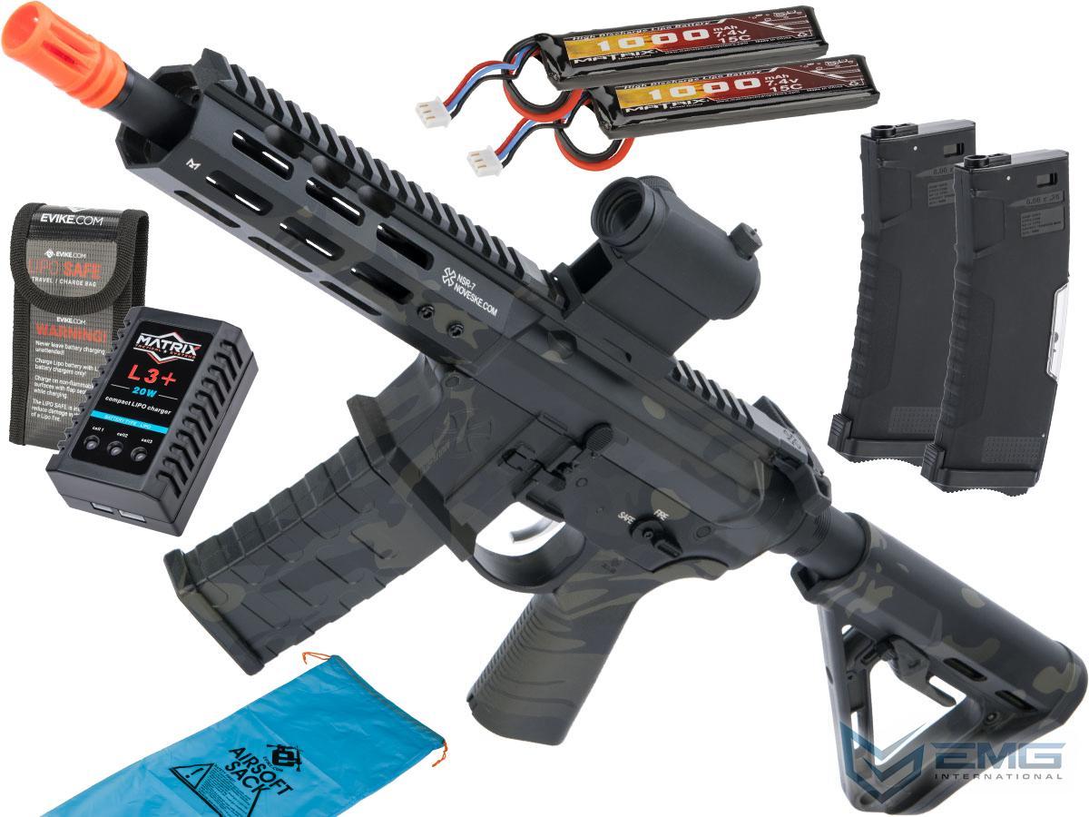 EMG NOVESKE Gen 4 w/ eSilverEdge SDU2.0 Gearbox Airsoft AEG Training Rifle (Model: Pistol / Multicam Black / Go Airsoft Package)