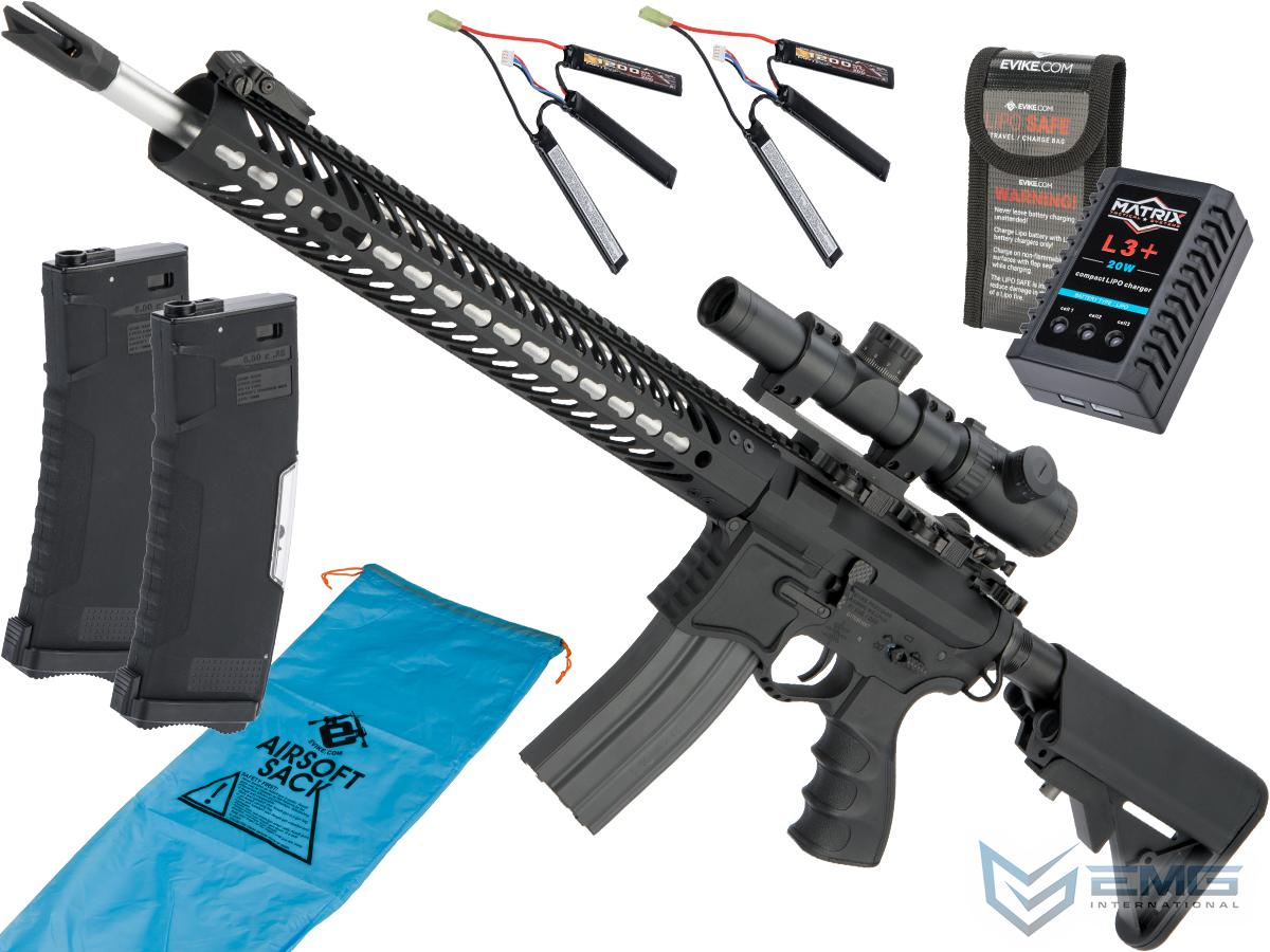 EMG Seekins Precision Licensed AR-15 SP223 Advanced Airsoft M4 AEG Rifle w/ G2 Gearbox (Color: Black / Marksman's Go Airsoft Package)