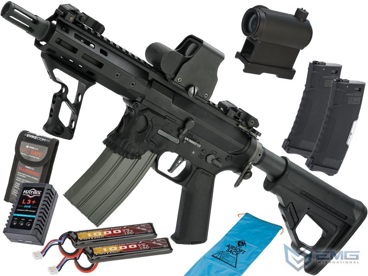 EMG / Sharps Bros Jack Licensed Full Metal Advanced M4 Airsoft AEG Rifle (Color: Black / 7 SBR / Go Airsoft Package)