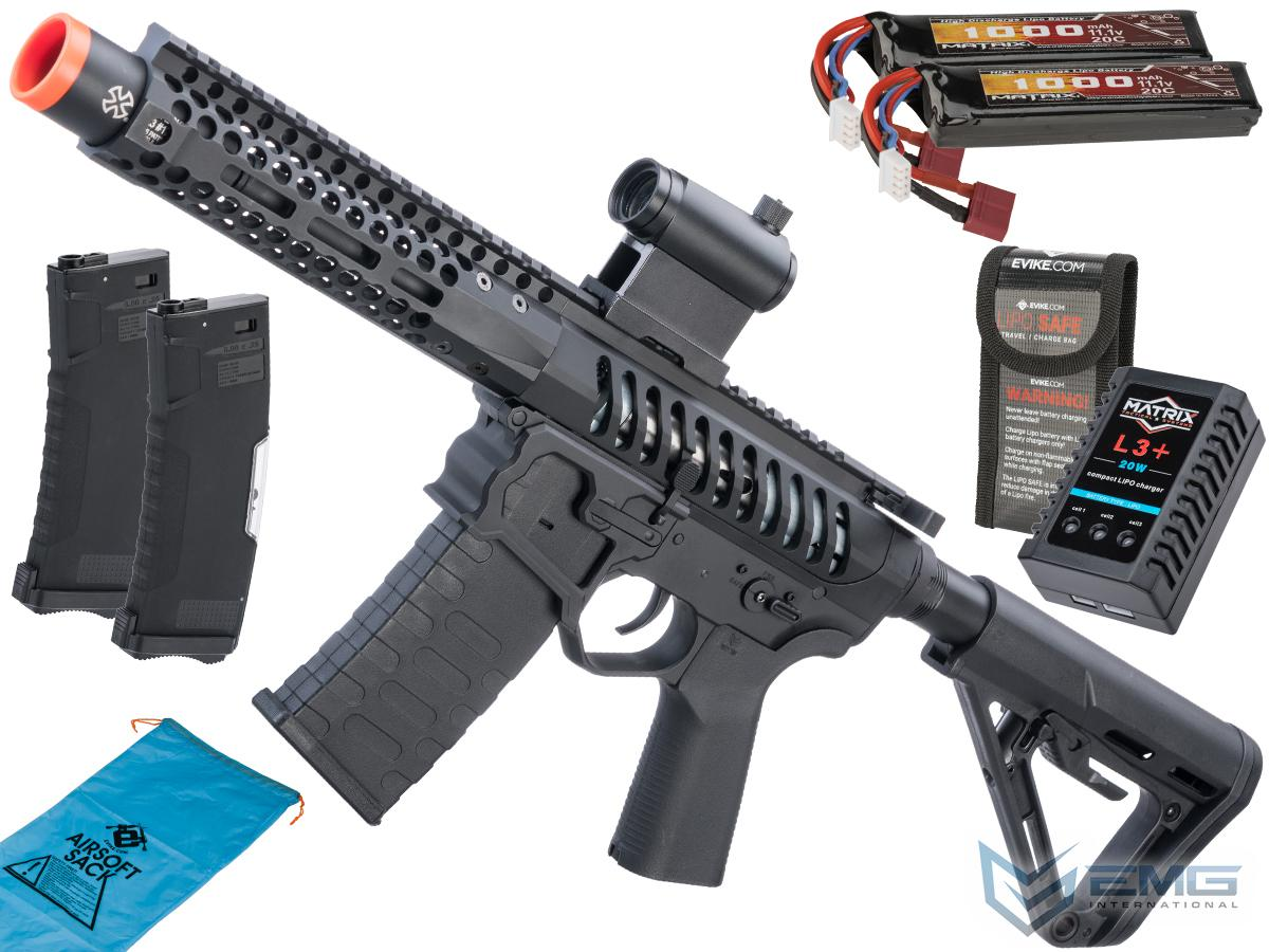 EMG F-1 Firearms PDW AR15 eSilverEdge Airsoft AEG Training Rifle (Model: 3G Style 1 / RS3 / Black / Go Airsoft Package)