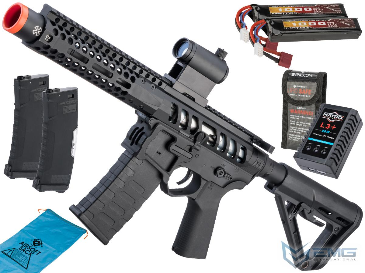 EMG F-1 Firearms PDW AR15 eSilverEdge Airsoft AEG Training Rifle (Model: 3G Style 2 / RS3 / Black / Go Airsoft Package)