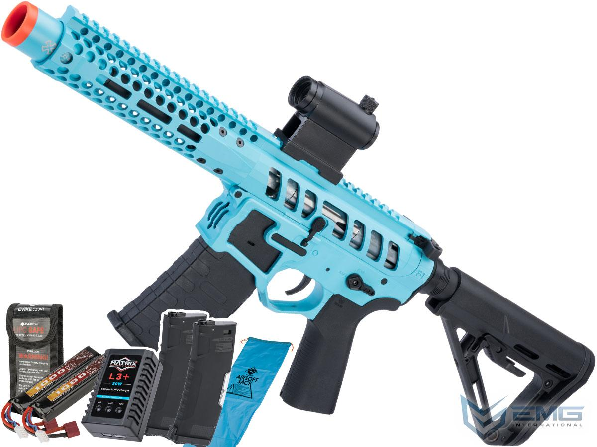 EMG F-1 Firearms PDW AR15 eSilverEdge Airsoft AEG Training Rifle (Model: 3G Style 2 / RS3 / Teal / Go Airsoft Package)