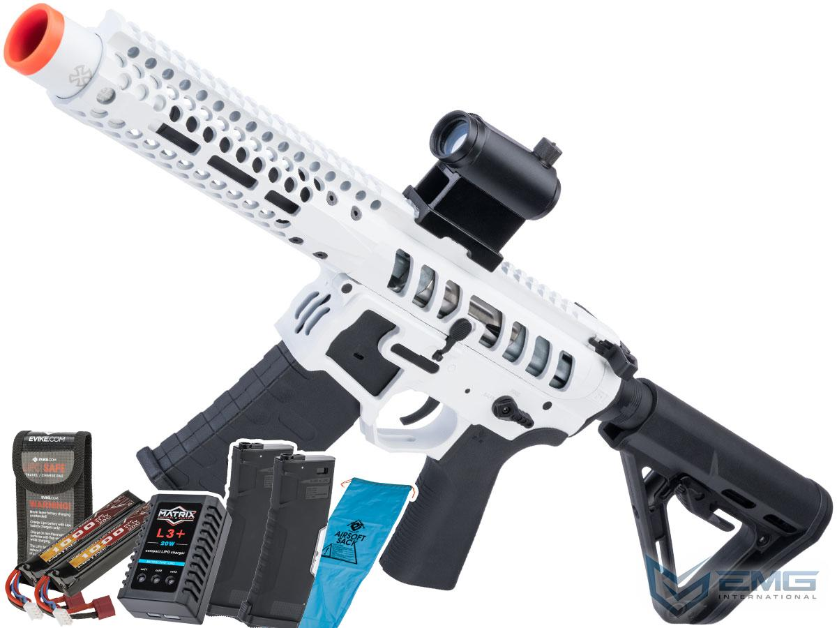 EMG F-1 Firearms PDW AR15 eSilverEdge Airsoft AEG Training Rifle (Model: 3G Style 2 / RS3 / White / Go Airsoft Package)