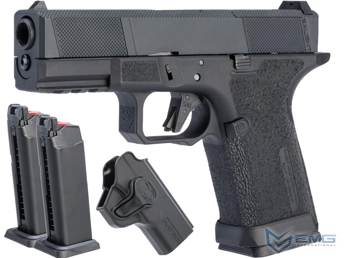 EMG SAI BLU Compact w/ EMG Tier One Utility RMR-Cut Slide GBB Airsoft Pistol (Color: Blackout / Carry Package)