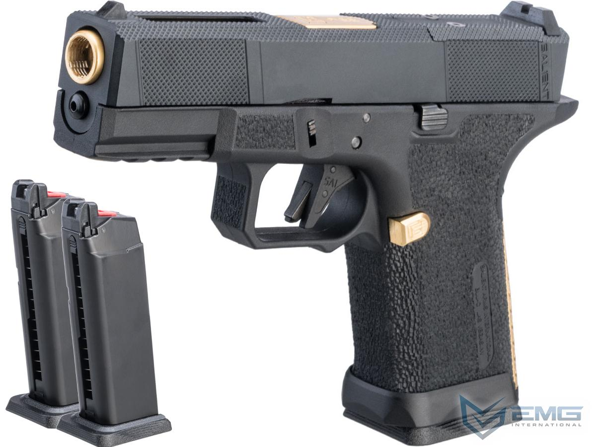 EMG SAI BLU Compact w/ EMG Tier One Utility RMR-Cut Slide GBB Airsoft Pistol (Color: Gold / Reload Package)