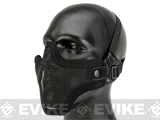 "Matrix Iron Face Carbon Steel Mesh ""Striker V1"" Lower Half Mask - Black (Two-Strap Model)"