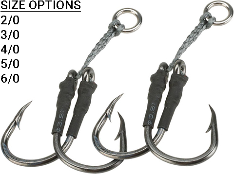 Battle Angler Dancing Short Stinger Jigging Double-Hook Set - Pack of 2 (Size: 4/0)