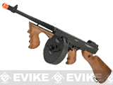 "Cybergun Licensed Thompson ""Chicago Typewriter Tommy Gun"" Airsoft AEG Rifle (Metal Receiver / Gearbox) w/ Drum Mag"