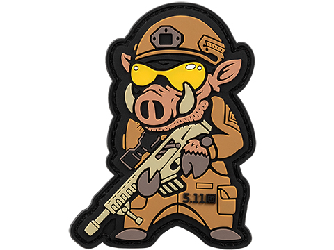 5.11 Tactical Boar Sniper Hook & Loop PVC Morale Patch (Color: Brown)