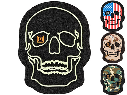 5.11 Tactical Painted Skull PVC Morale Patch (Color: Glow-In-The-Dark)