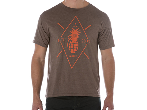 5.11 Tactical Pineapple Grenade Graphic Tee (Color: Brown Heather / X-Large)
