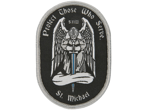 5.11 Tactical Saint Michael Embroidered Hook and Loop Morale Patch (Color: Grey)