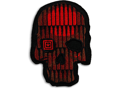 5.11 Tactical Crusty Bullet Skull Embroidered Morale Patch (Color: Red)