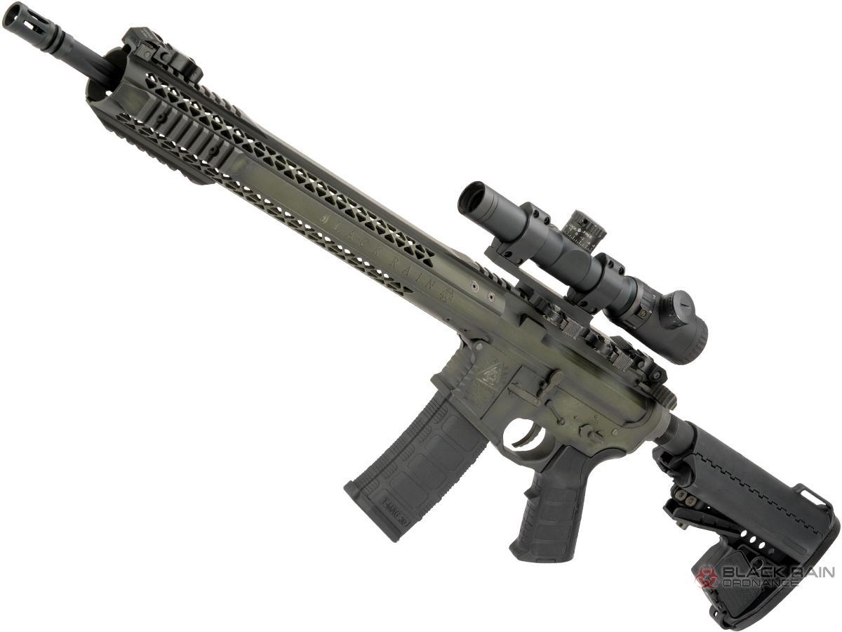 EMG Custom Cerakote Black Rain Ordnance BRO M4 SPEC15 Airsoft AEG by King Arms (Color: Battle Worn OD / Force)