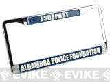 I Support Alhambra Police Foundation License Plate Frame - White & Blue