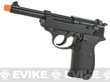 WE Full Metal Heavy Weight P38 Airsoft Gas Blow Back Pistol - Black