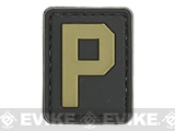 Evike.com PVC Hook and Loop Letters & Numbers Patch Black/Tan (Letter: P)
