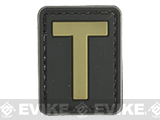 Evike.com PVC Hook and Loop Letters & Numbers Patch Black/Tan (Letter: T)