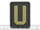 Evike.com PVC Hook and Loop Letters & Numbers Patch Black/Tan (Letter: U)