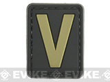 Evike.com PVC Hook and Loop Letters & Numbers Patch Black/Tan (Letter: V)