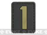 Evike.com PVC Hook and Loop Letters & Numbers Patch Black/Tan (Number: 1)