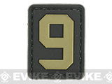 Evike.com PVC Hook and Loop Letters & Numbers Patch Black/Tan (Number: 9)