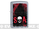 Zippo Classic Lighter - SOA Skull (Brushed Chrome)