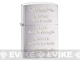 Zippo Classic Lighter - In Wine There is Truth (Brushed Chrome)