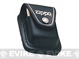 Zippo Lighter Pouch with Loop - Black Leather