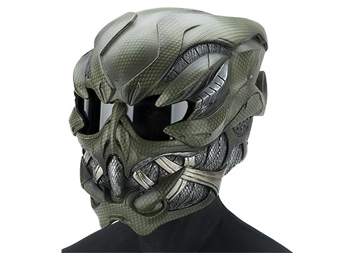 Evike.com R-Custom Fiberglass  Crysis Gunner Full Face Helmet with Clear Lens (Color: OD Net)