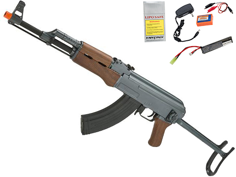 CYMA Sport AK47S Under-Folding Stock Airsoft AEG Rifle w/ Simulated Wood Furniture (Package: Add 7.4v LiPo Battery + Charger)