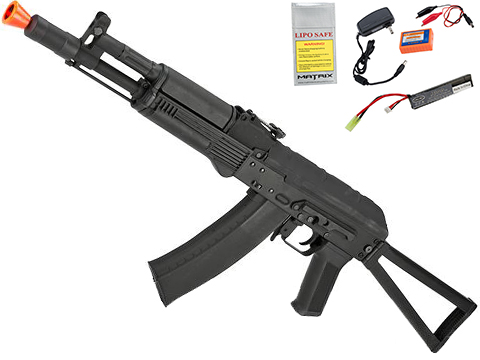 CYMA Standard Stamped Metal AK-105 Airsoft AEG Rifle with Steel Folding Stock