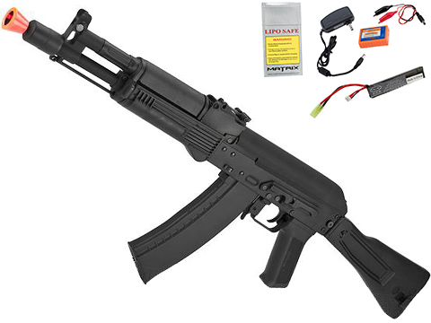 CYMA Standard Stamped Metal AK-105 Airsoft AEG Rifle with Synthetic Folding Stock (Package: Gun Only)