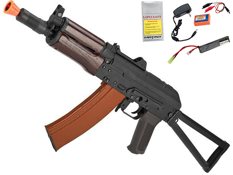 CYMA Standard Stamped Metal AK74U Airsoft AEG Rifle w/ Steel Folding Stock and Wood Furniture (Package: Gun Only)