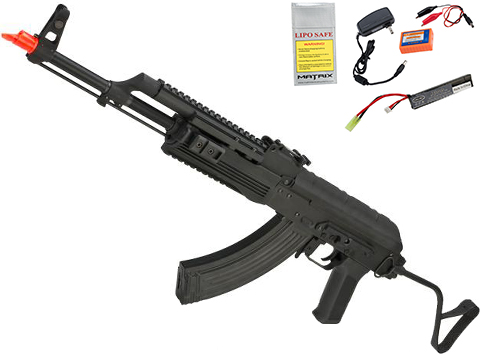 Matrix CM050A Full Metal AK47 Romanian / Scorpion Airsoft AEG Rifle by CYMA - (Package: Add 7.4v LiPo Battery + Charger)
