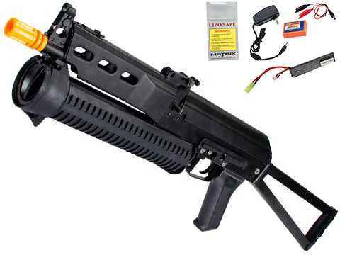 PP-19 AK Bizon-2 Bison Full Size Airsoft AEG Rifle by CYMA Full Metal Lipo Ready Version - (Package: Add 7.4v LiPo Battery + Charger)