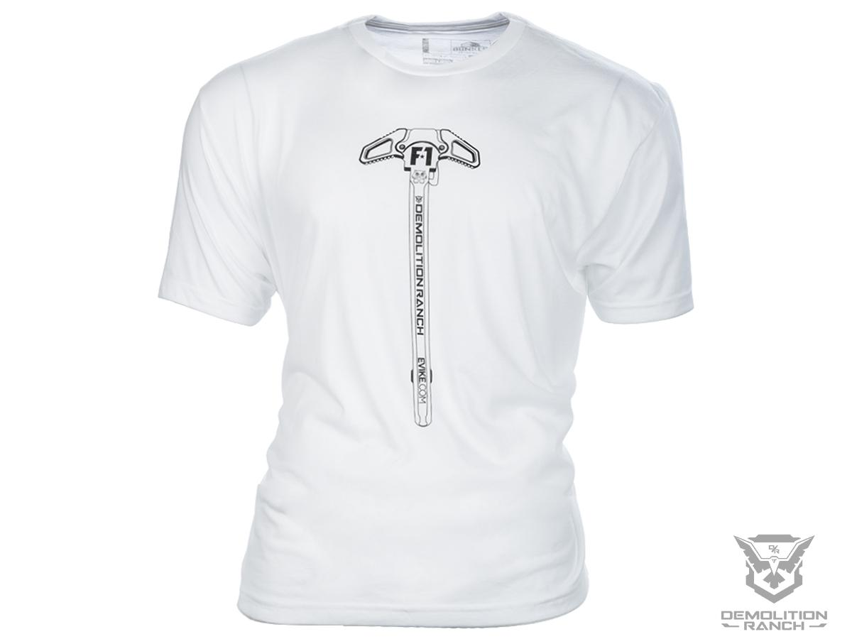 Bunker Branding Co. Demolition Ranch Charging Handle White T Shirt (Size: Large)